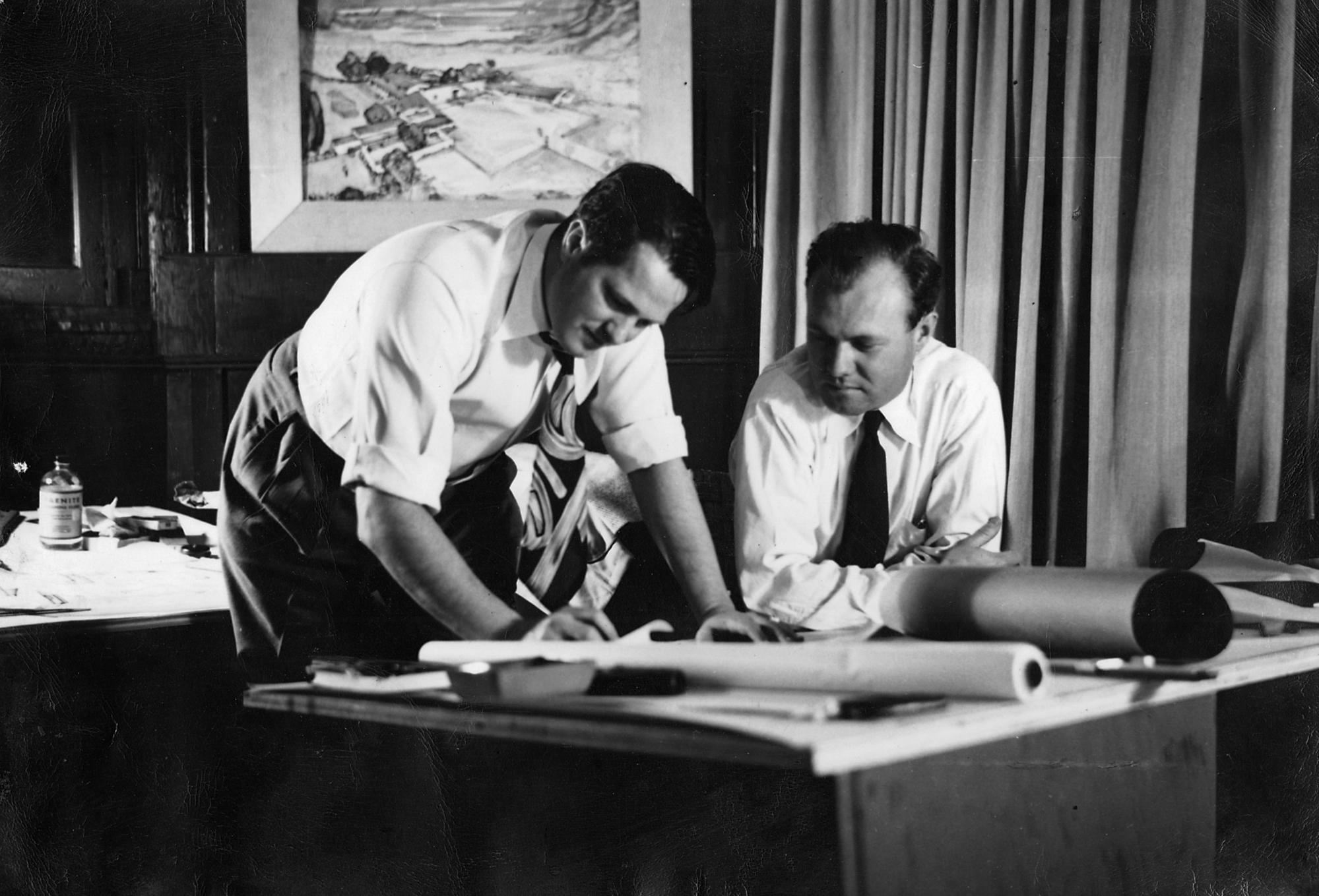 An undated photo of William F. Cody, left, with an associate in Cody's L.A. office on Santa Monica Boulevard.