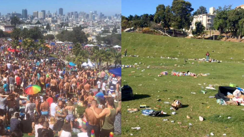 Dolores Park on Saturday and its aftermath.