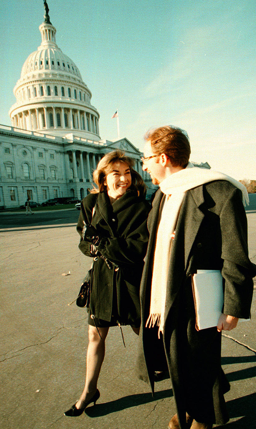 Loretta Sanchez,  with her campaign manager John Shallman, arrives in Washington in 1996 for orientation sessions for new members of Congress.