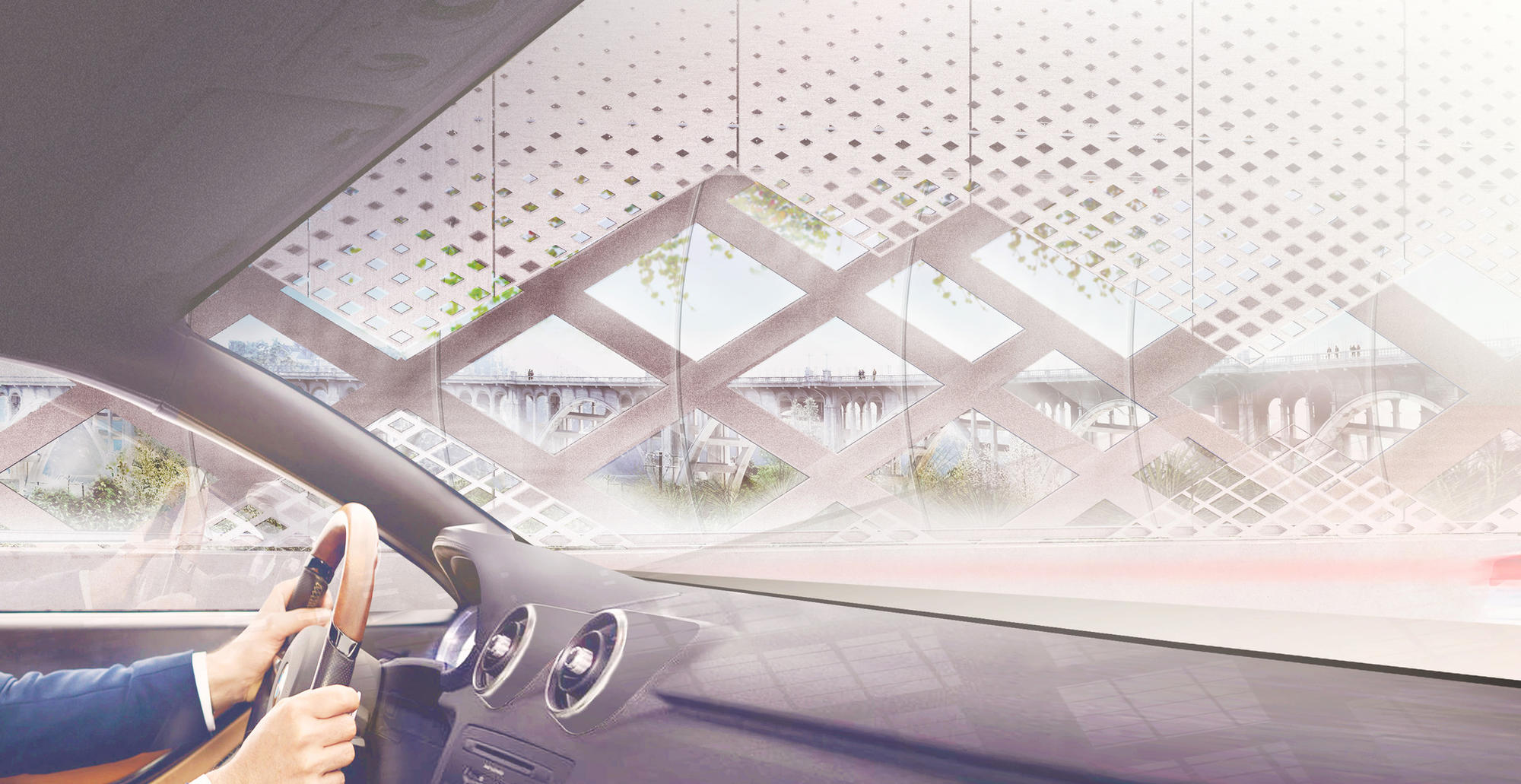 A rendering view from a car interior of the 134 Arroyo Seco Bridge project.