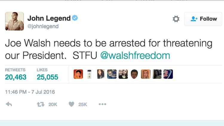 John Legend tweet about Joe Walsh