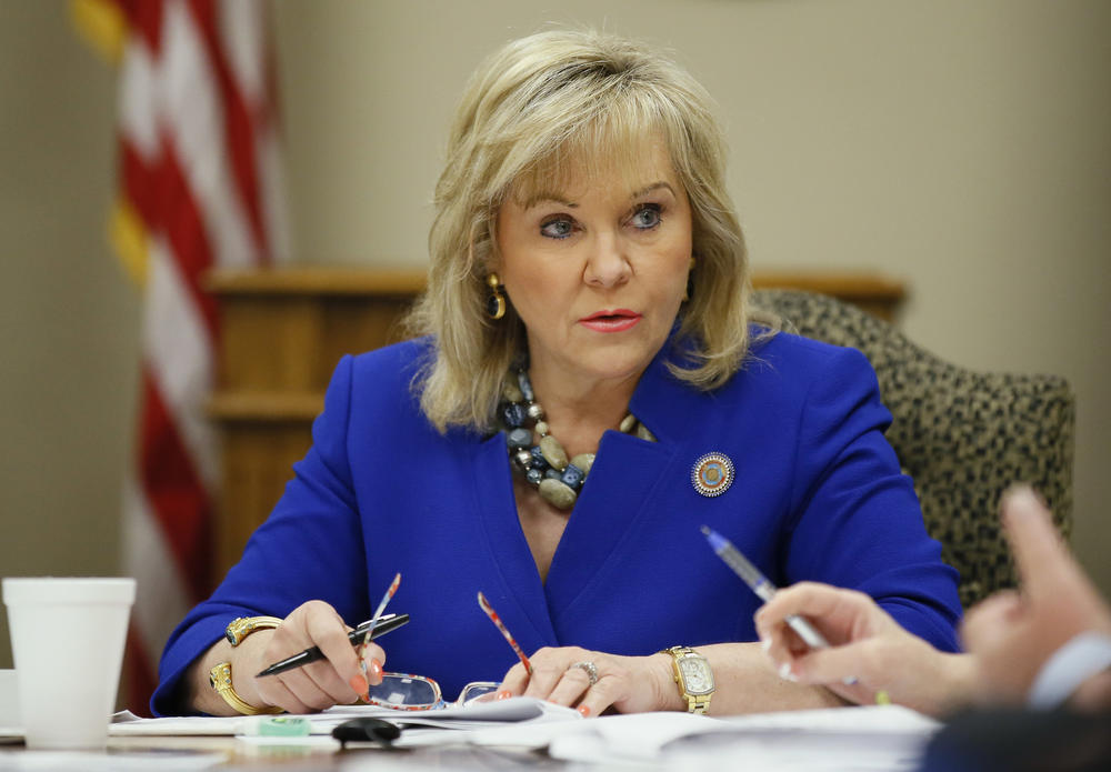 Oklahoma Gov. Mary Fallin attends a meeting of the State Board of Equalization in Oklahoma City.