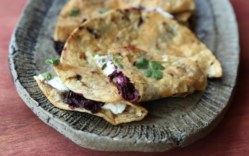 Hibiscus and goat cheese tacos
