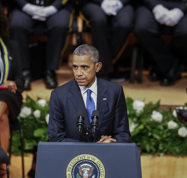 U.S. President Barack Obama speaks during the Interfaith Tribute to Dallas Fallen Officers at the Morton H. Meyerson Symphony Center in Dallas, Texas. (LARRY W. SMITH/EPA)