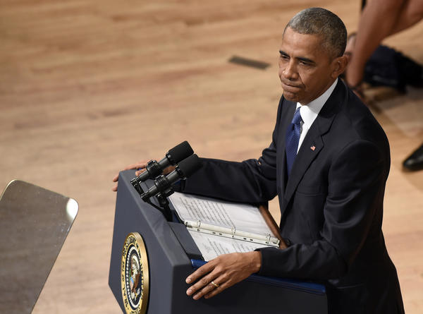 President Obama speaks at a memorial service in Dallas. (Susan Walsh / Associated Press)