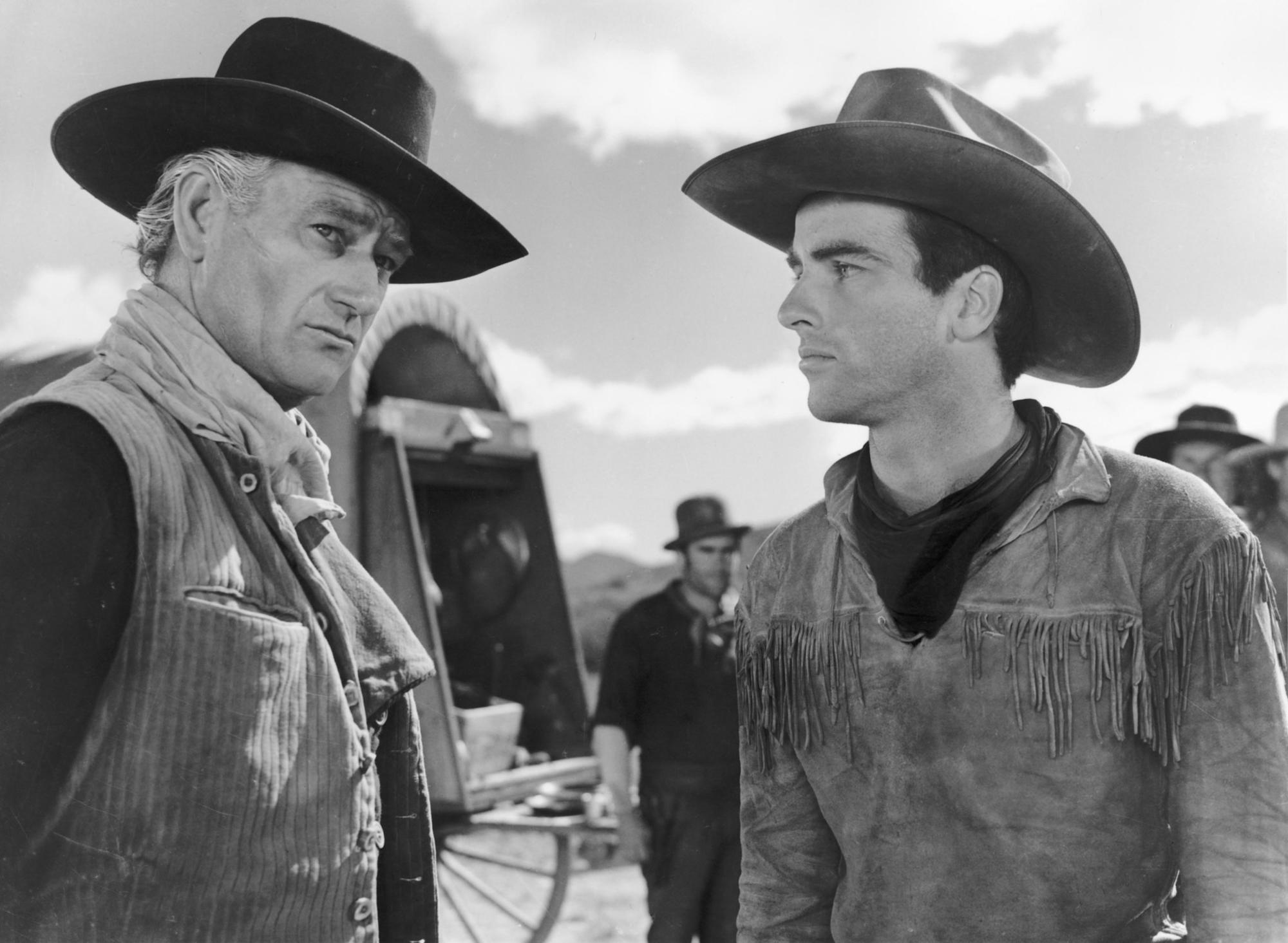 "John Wayne and Montgomery Clift in ""Red River."""