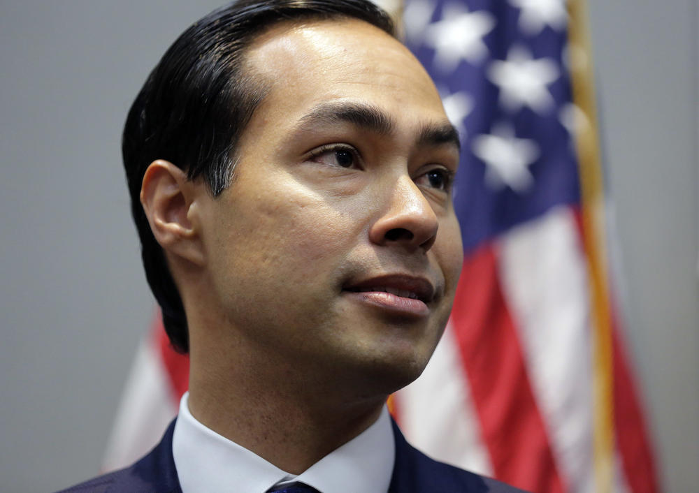 Housing and Urban Development Secretary Julian Castro takes part in a news conference at the Texas Democratic Convention.
