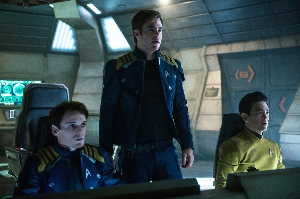 From left, Anton Yelchin, Chris Pine and John Cho appear in a scene from