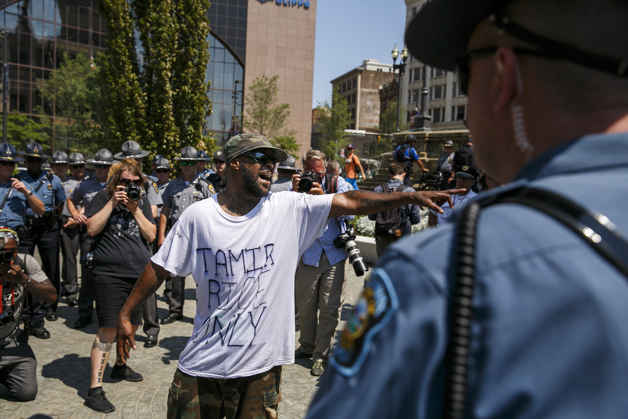 Stevedore Crawford Jr. of Delaware, Ohio, shouts at a police officer in Cleveland.