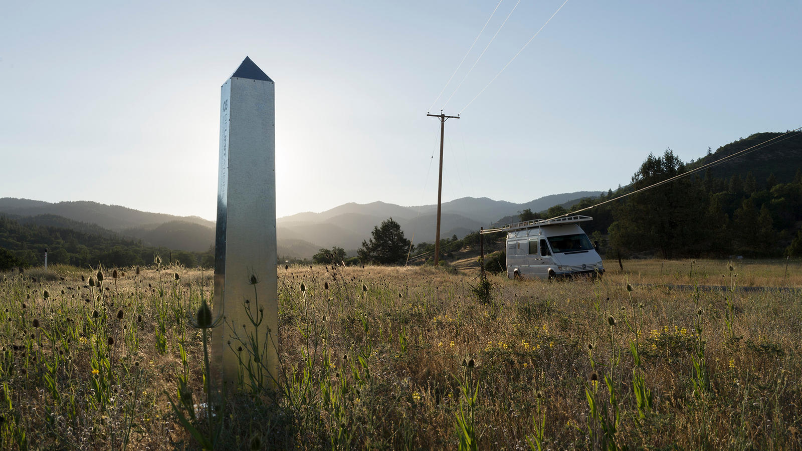 A sheet metal obelisk by David Taylor and Marcos Ramirez Erre somewhere south of Ashland, Ore. -- part of a project marking the 1821 U.S.-Mexico border now on view at MCASD.