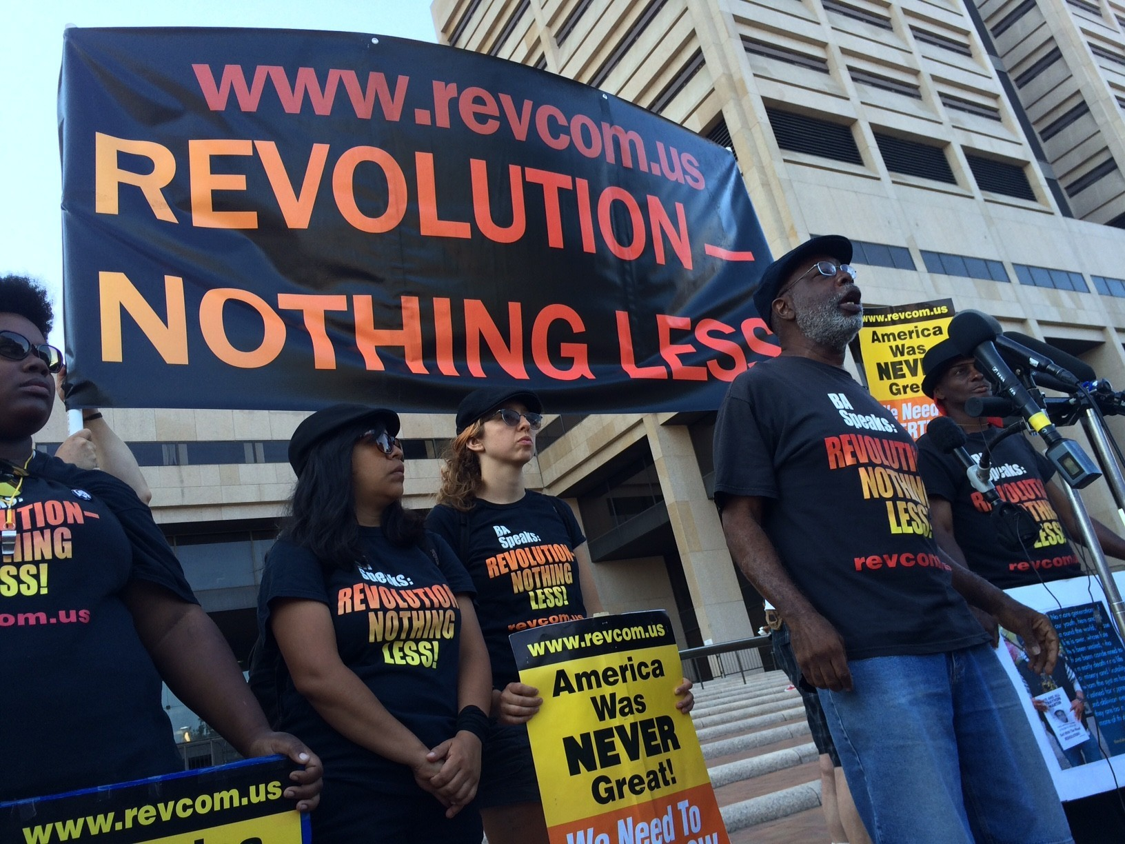 Carl Dix, a founding member of the Revolutionary Communist Party, says supporters will challenge the arrests of 17 people in Wednesday's flag-burning protest.