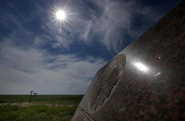 A knee-high memorial marks the spot of the massacre.
