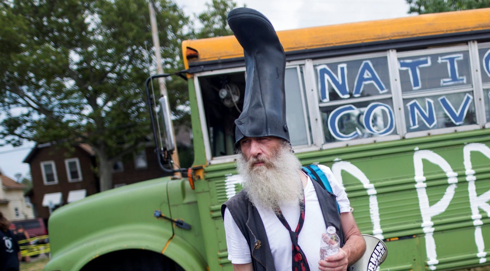 Performance artist, activist and perennial political candidate Vermin Supreme, seen earlier in the Republican National Convention
