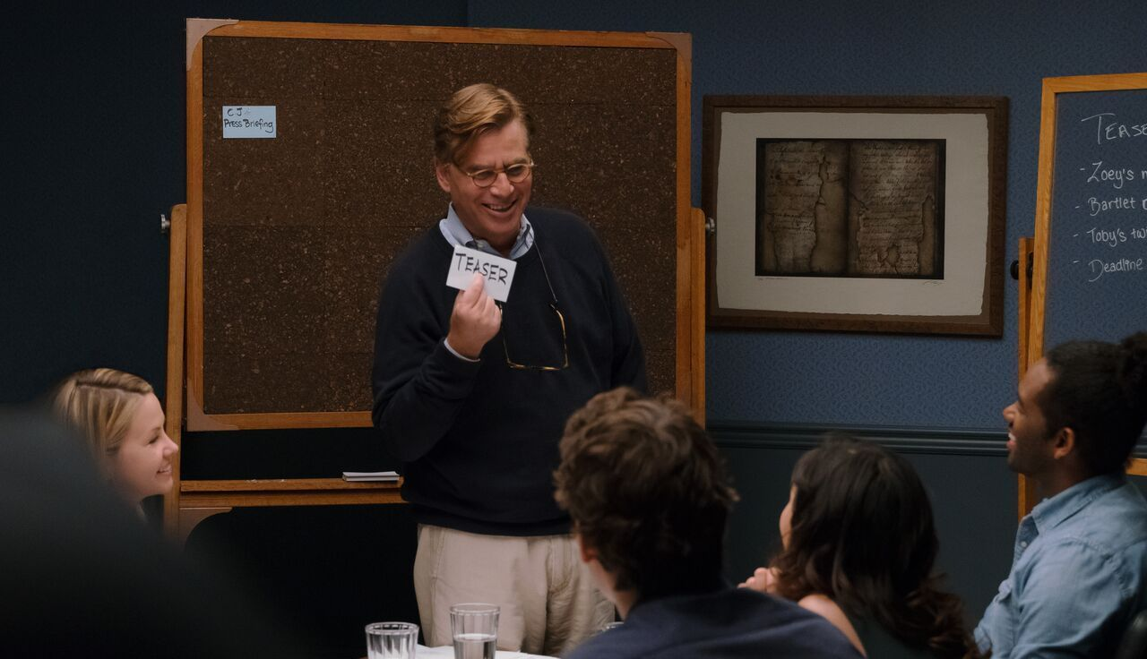 Screenwriter Aaron Sorkin filming a class about how to write