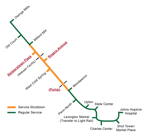 Subway Map Of Baltimore.Mta To Start Free Bus Shuttles During Baltimore Metro Subway Closure