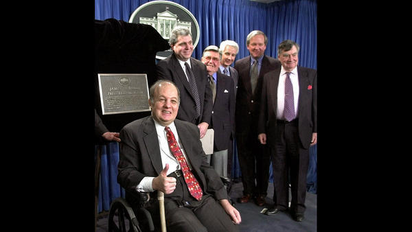 James Brady, press secretary to President Reagan, was left partly paralyzed by the gunfire that also wounded Reagan in 1981.