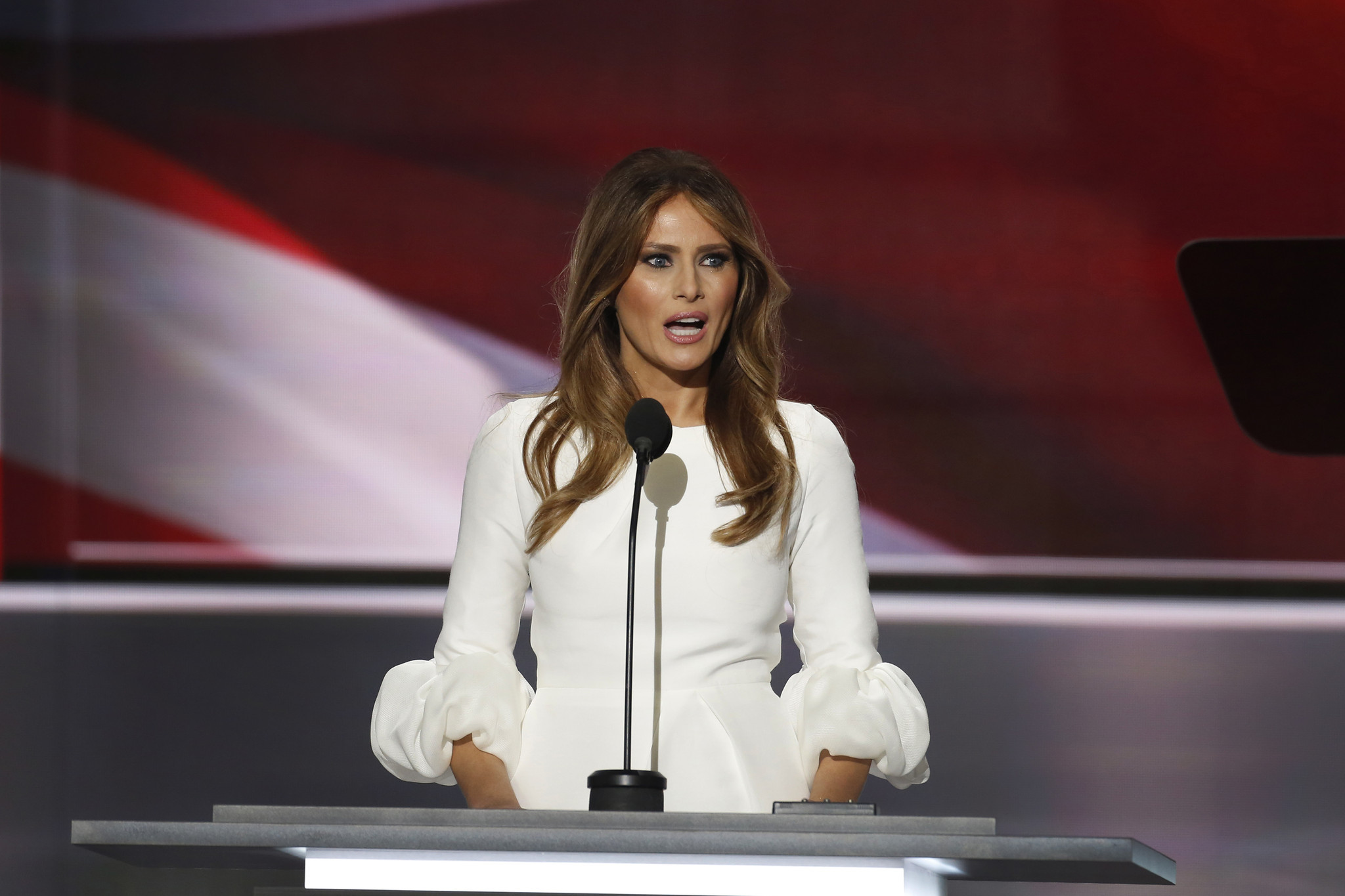 Melania Trump speaks during the Republican National Convention on July 18, the first night of the convention in Cleveland.