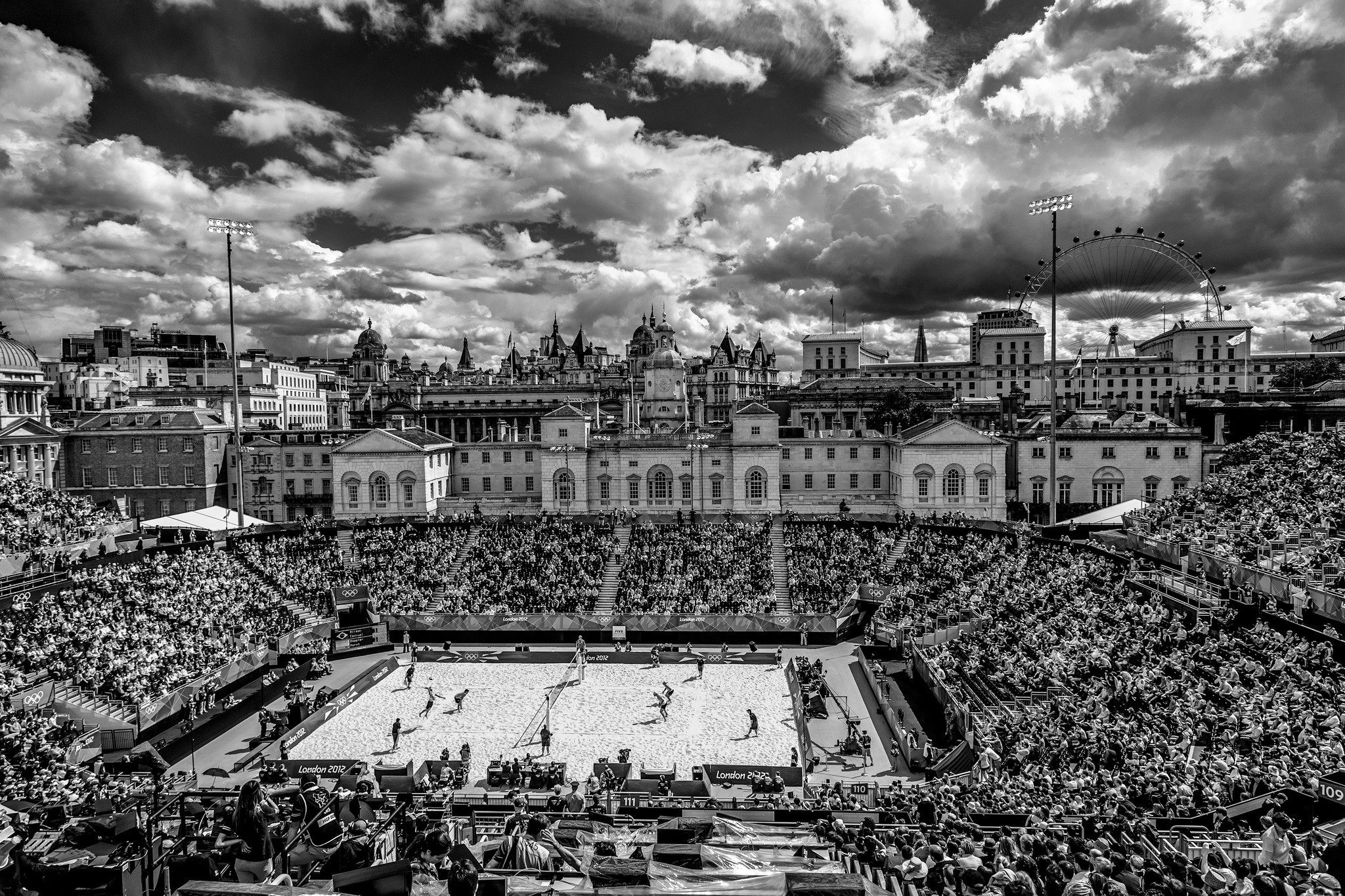 The juxtaposition of beach volleyball and the London skyline in 2012.