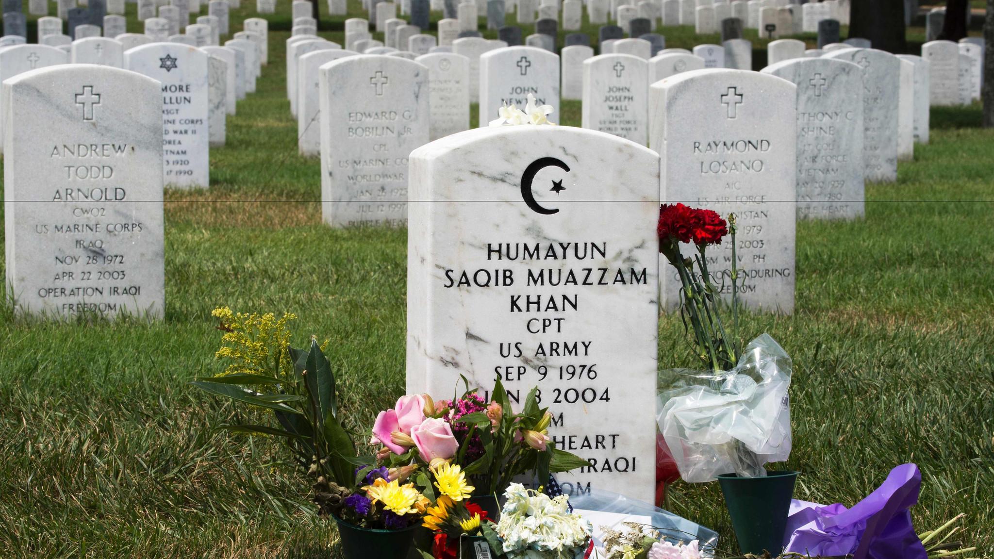 Capt. Humayun Khan is buried at Arlington National Cemetery.