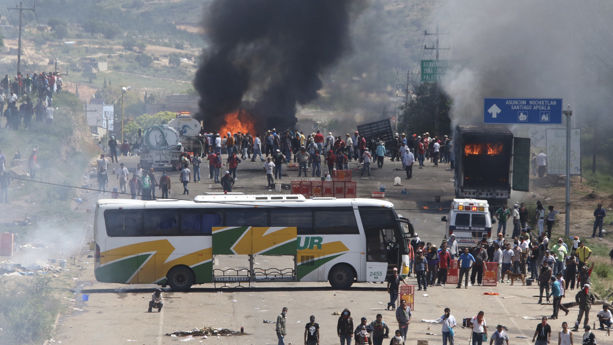 Several vehicles were torched during the unrest in Nochixtlan in June.