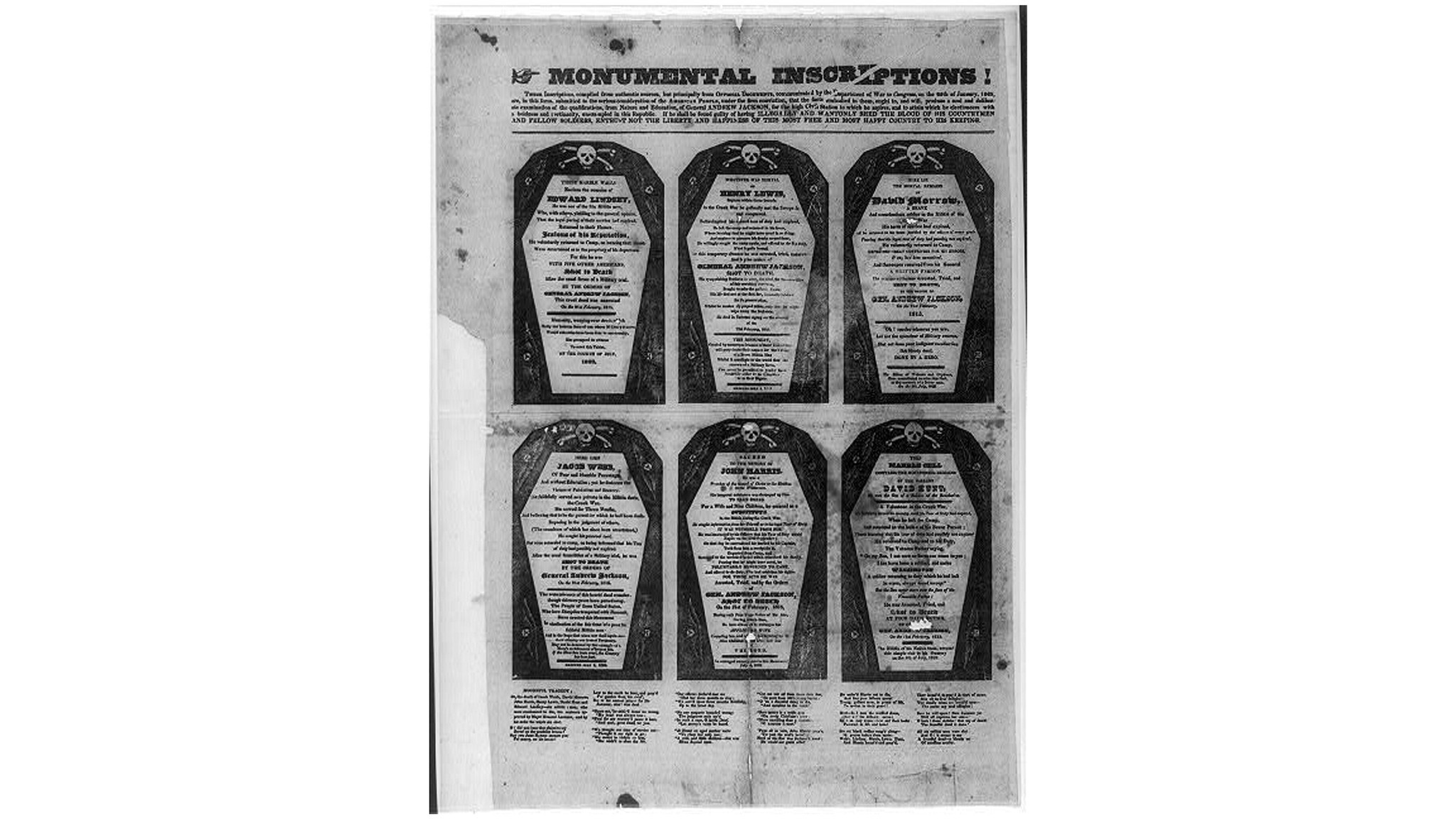 "President John Quincy Adams' supporters created a series of pamphlets called the ""coffin handbills"" attacking Tennessee war hero Andrew Jackson, who was running for president against Adams. The handbills depict six military executions ordered by Jackson in 1815."