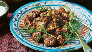 Spicy meatballs with adjika and yogurt
