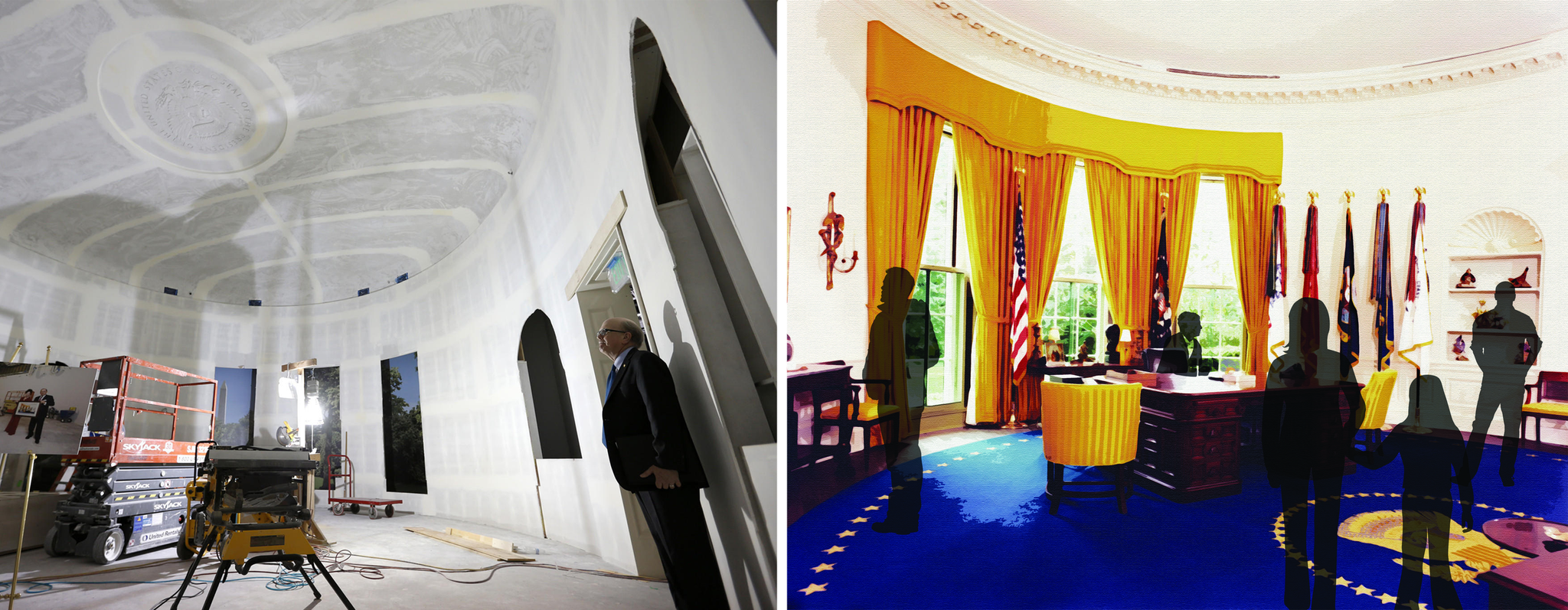 At left, a replica of President Nixon's Oval Office under construction, part of the new Nixon Library galleries set to open in October after a $15-million renovation. On the right is an artist's rendering of the room.