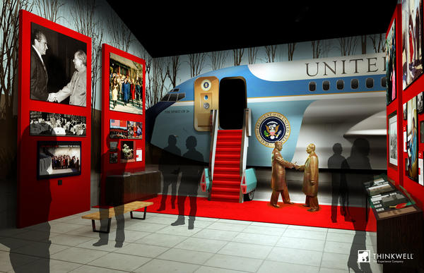An artist's rendering of an exhibit depicting Richard Nixon's visit to China.