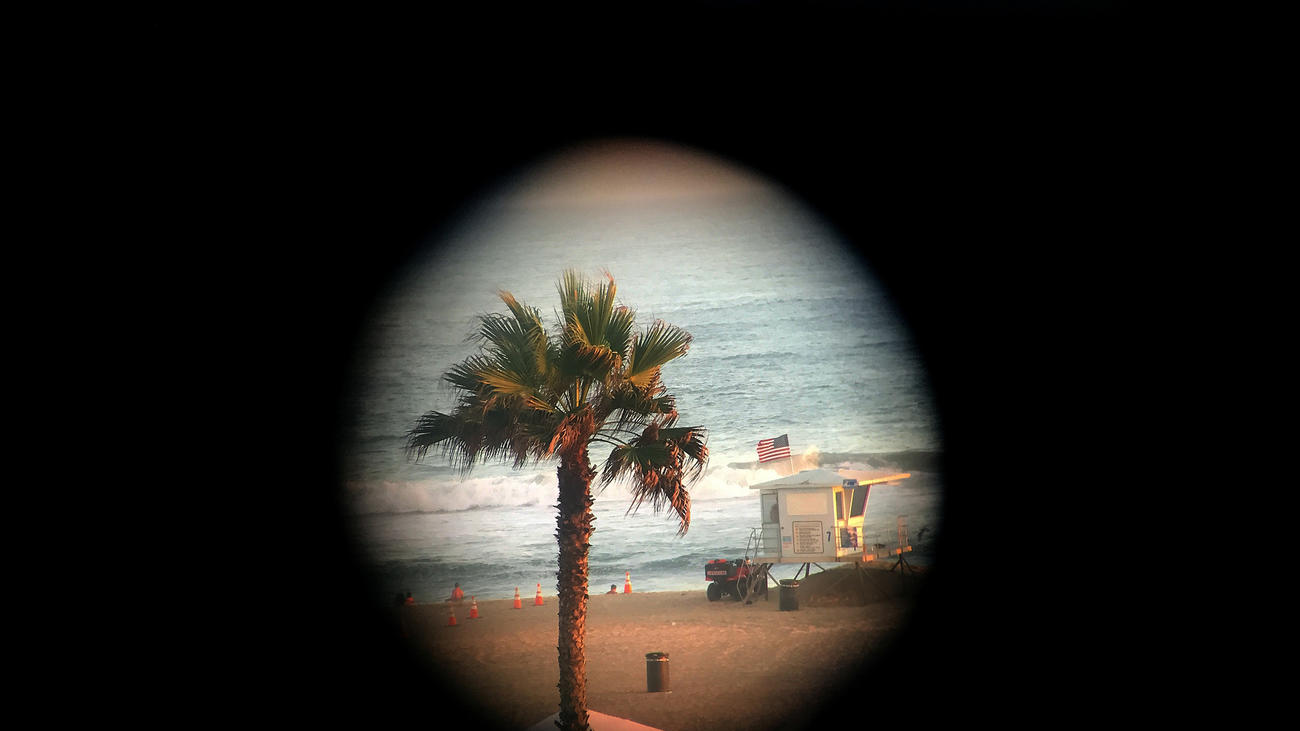 A view of the beach through a telescope at Pacific City, a new 31-acre mixed-use development in Huntington Beach, also known as Surf City U.S.A. (Allen J. Schaben / Los Angeles Times) None
