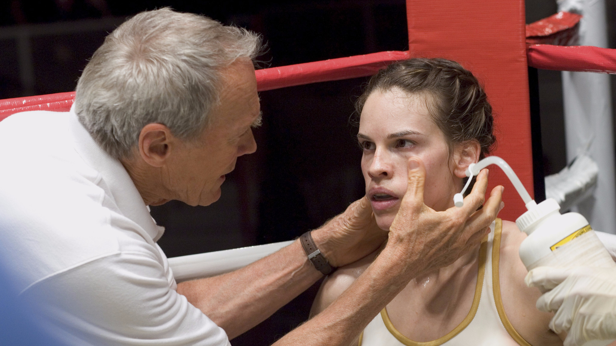 Clint Eastwood as Frankie and Hilary Swank as Maggie in