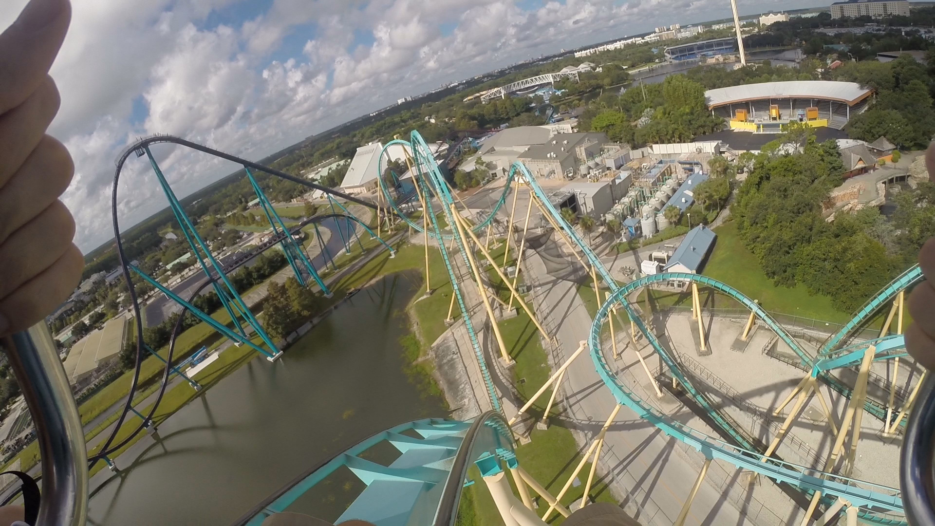 First person view: Kraken roller coaster at SeaWorld ...