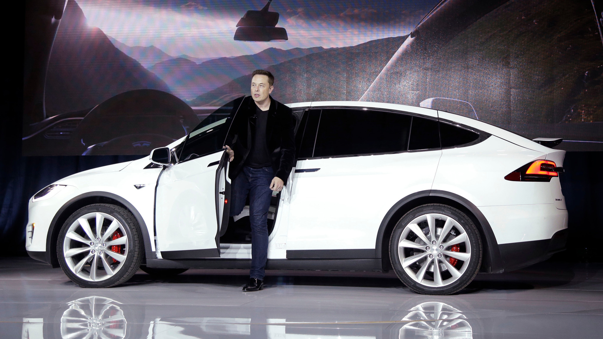 Elon Musk, CEO of Tesla Motors, introduces the carmaker's Model X at the company's manufacturing plant in Fremont, Calif., in September 2015.