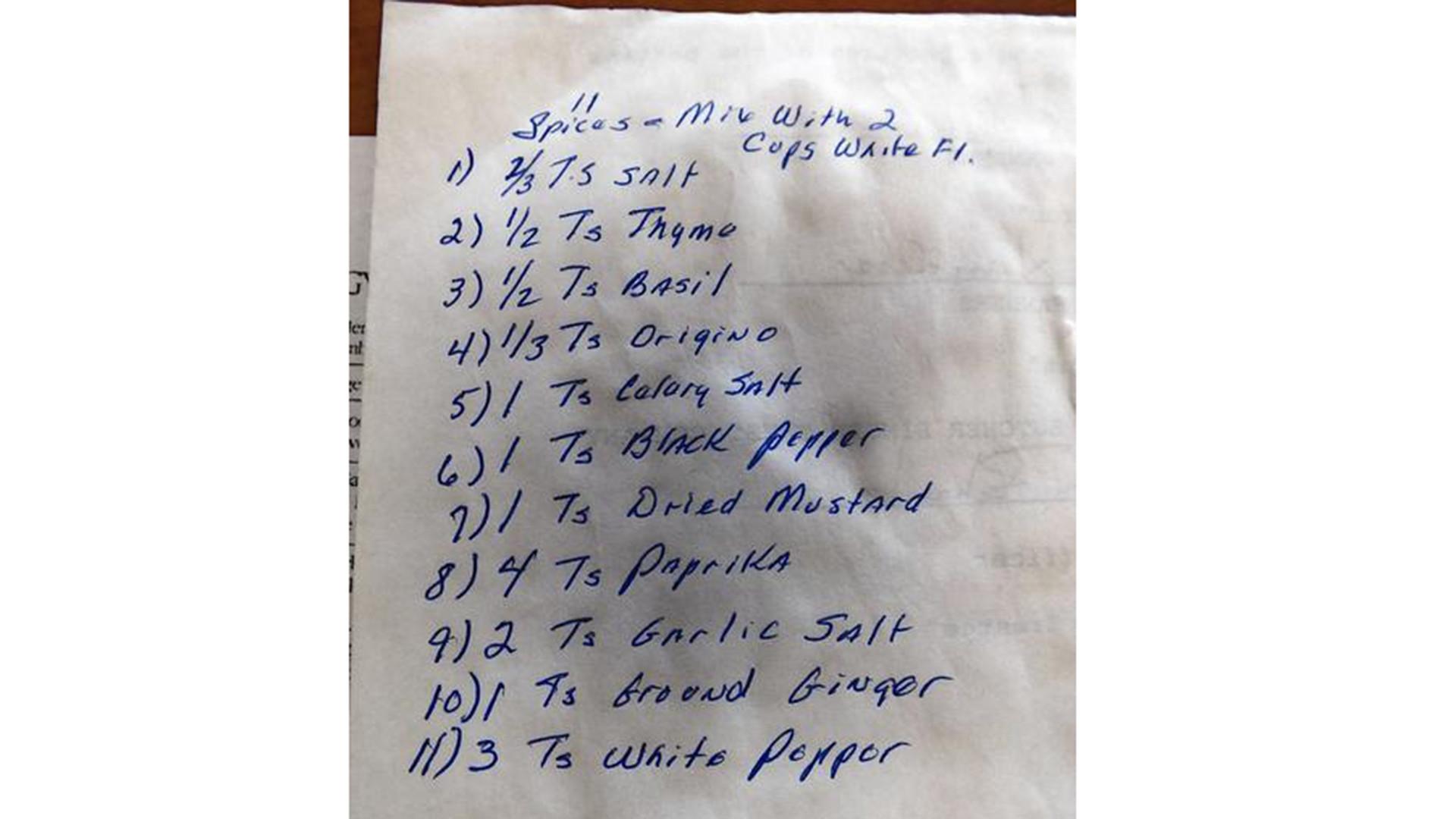kfc recipe revealed tribune shown family scrapbook with 11 herbs