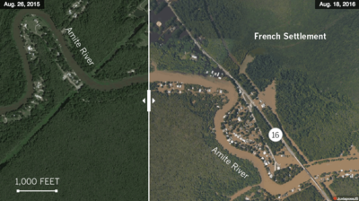Flooding in Louisiana before and after