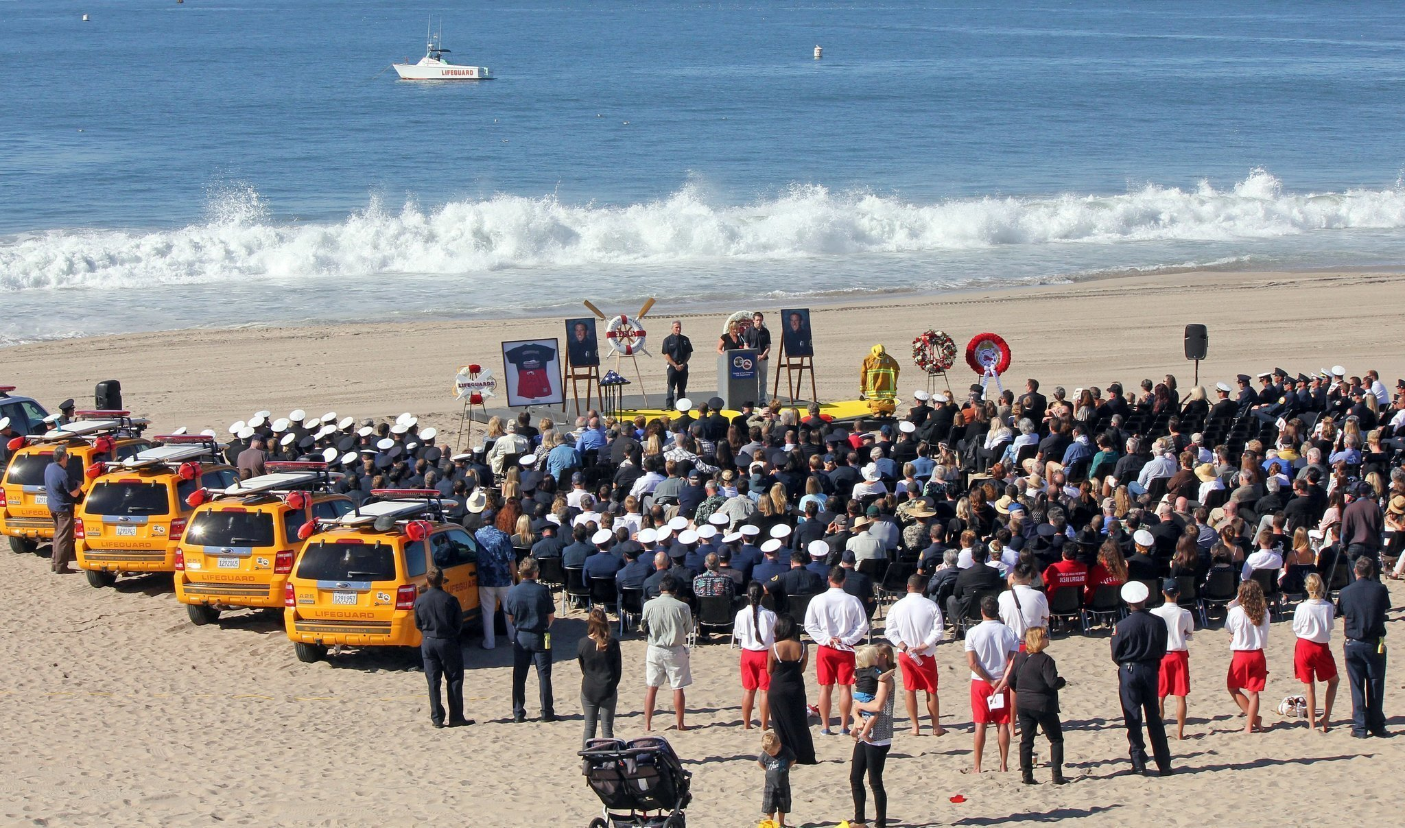 beach memorial for la county lifeguard who died in swim test the