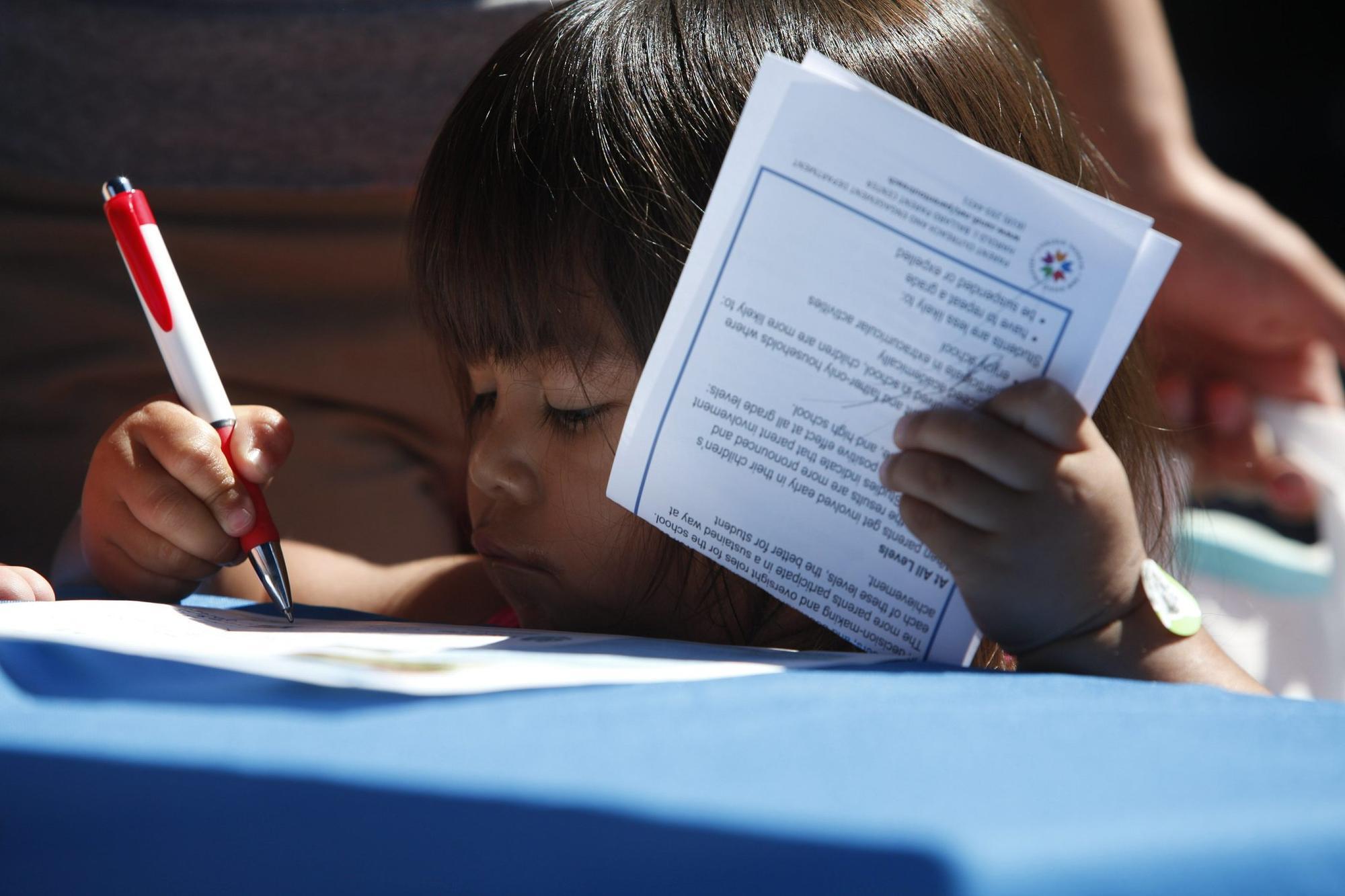 Skyler Smith of Serra Mesa prepares for preschool in the San Diego Unified School District. File photo.