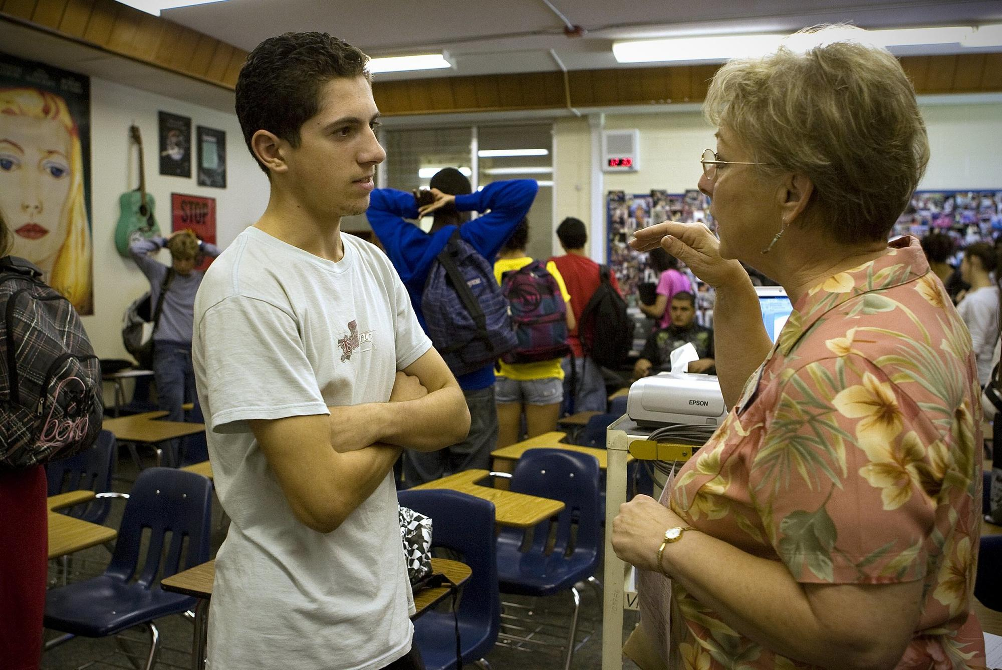 Steve Habba, 17, a senior at Valhalla High School in El Cajon, spoke with school counselor Elaine Swatniki, who held a class for seniors on how to plan for their post-secondary e