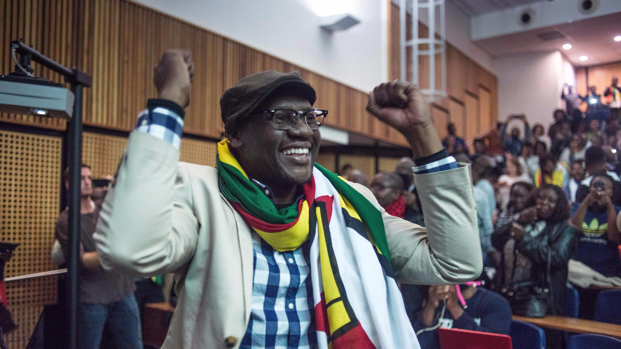 Zimbabwean Pastor Evan Mawarire gestures after addressing students during a lecture at the University of Witwatersrand in Johannesburg, on July 28, 2016.