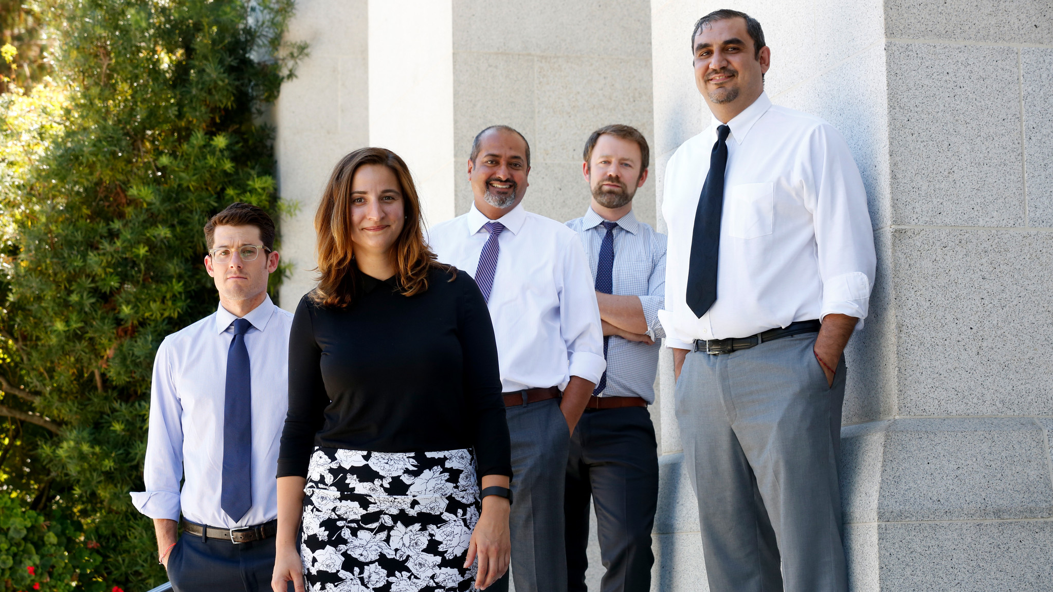State Senate counsel Jake Levine, left, Jena Price of the California League of Conservation Voters, Parin Shah of the Asian Pacific Environmental Network, Alex Jackson of the Natural Resources Defense Council and Assembly aide Carlos Gonzalez worked on the climate measure.