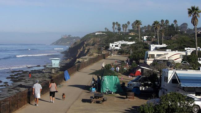 Campers Enjoy The San Elijo State Campground On A Sunday Morning In Encinitas