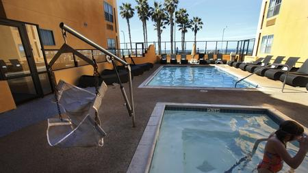 The Ocean Park Inn In Pacific Beach Has A Portable Pool Lift For Disabled