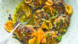 Orange-oregano roast chicken, olive gremolata