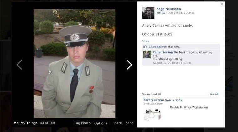 nazi facebook photos draw criticism for candidate the