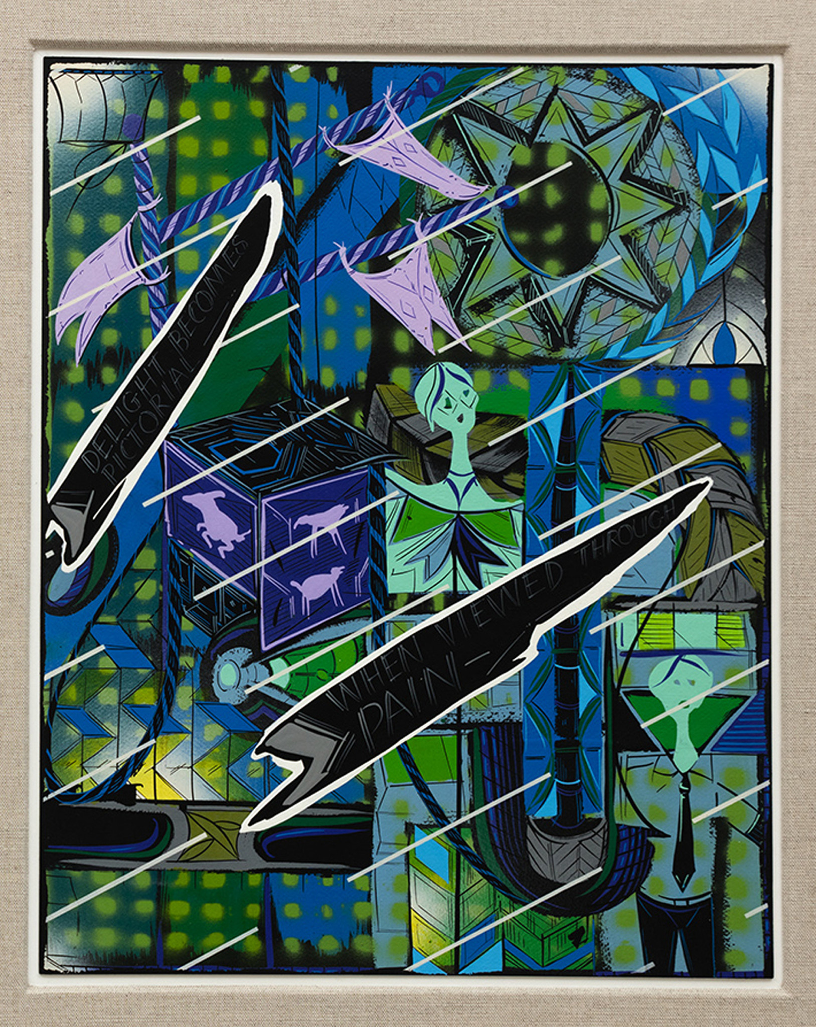 """Lari Pittman's """"10 Divinations by Emily Dickinson in Greens and Blues,"""" 2015, acrylic and lacquer spray over gessoed, heavyweight paper board, 27 inches by 25 inches by 4 1/2 inches."""