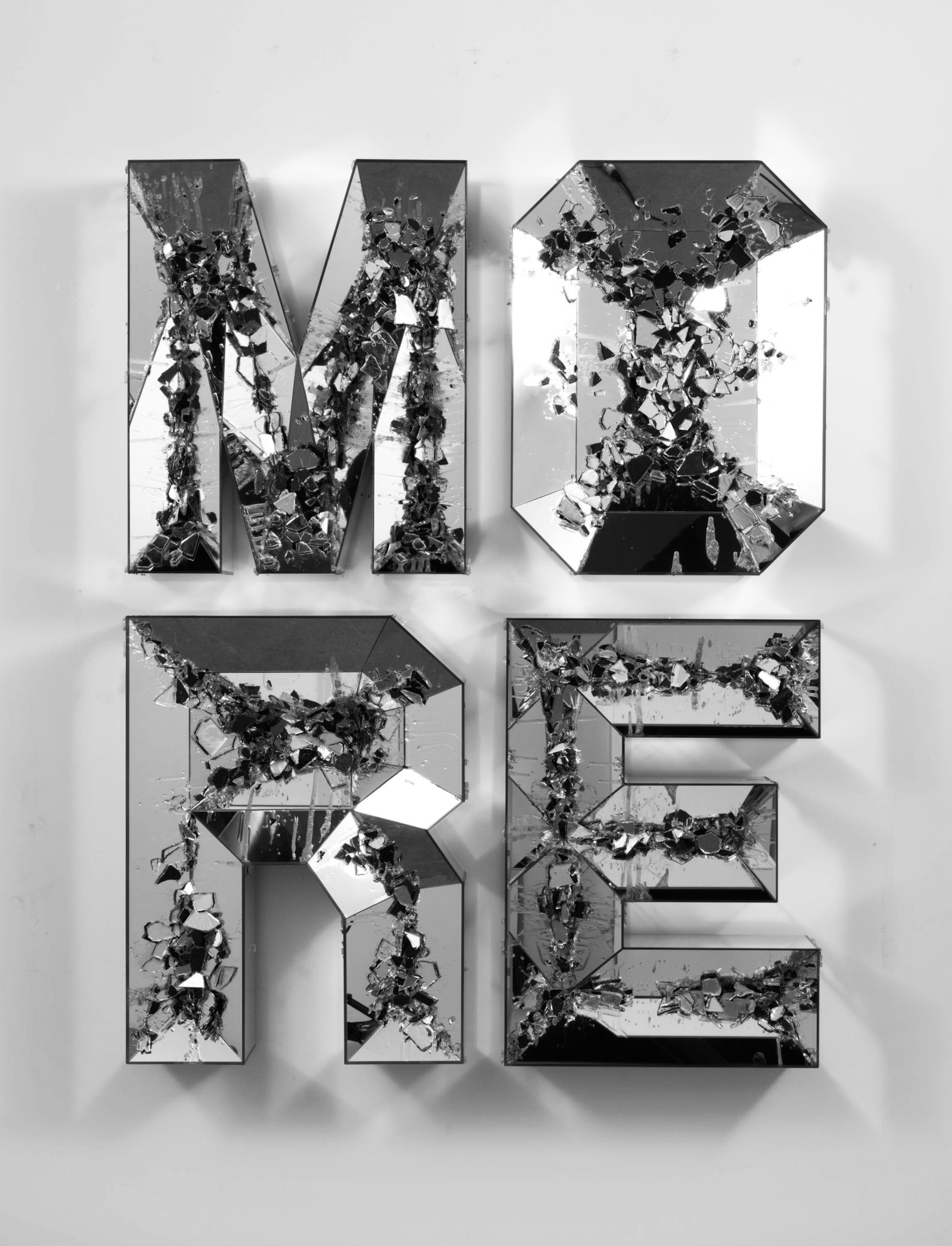 """Doug Aitken's """"More (shattered pour),"""" 2013, high-density foam, wood, mirror, 63 inches by 48 1/2 inches by 7 1/2  inches."""