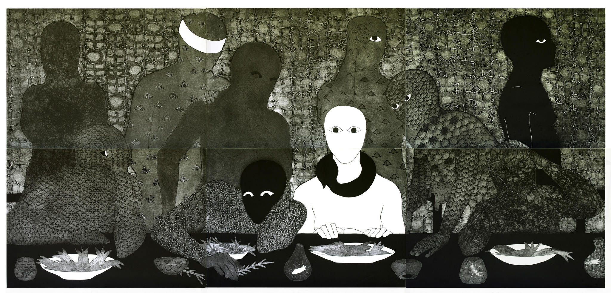 """Belkis Ayn's """"La Cena"""" (""""The Supper""""), 1991, collagraph."""