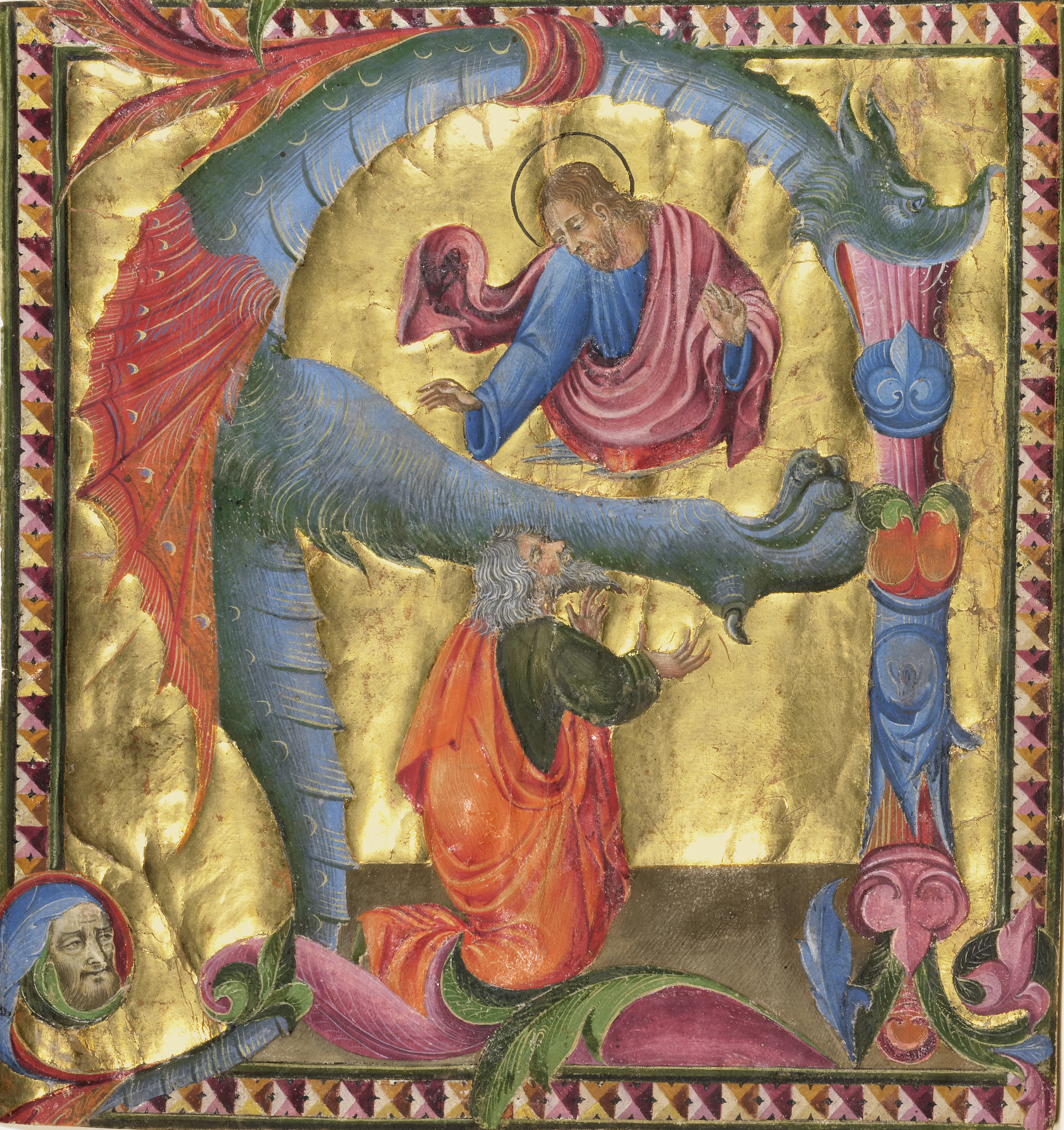 """""""Initial A: Christ Appearing to David"""" by Giovanni di Paolo, about 1440, tempera colors, gold leaf and ink on parchment."""