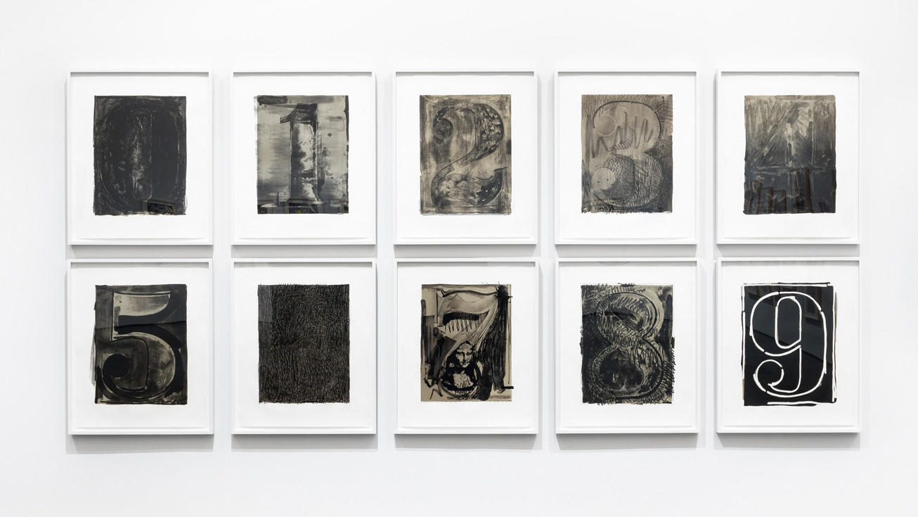 """An installation view of Jasper Johns' """"Black Numeral Series (0–9),"""" 1968/70 at the Gemini G.E.L. show at LACMA."""
