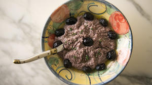 Kalamata and oil-cured olive tapenade with tuna
