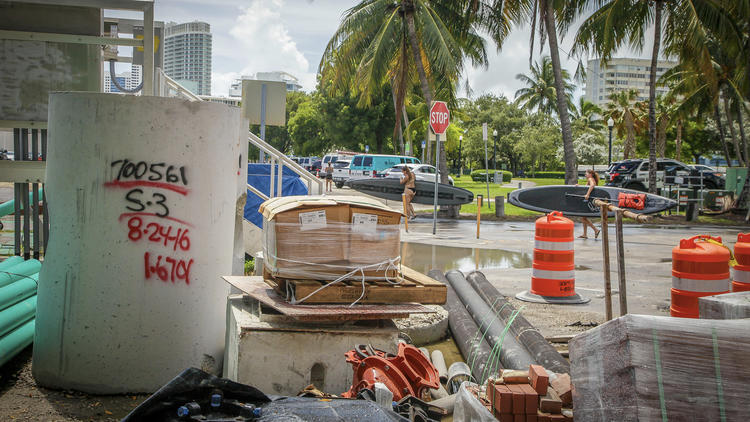 Purdy Avenue, along Maurice Gibb Memorial Park in Miami Beach, has been elevated because of a history of flooding.